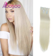 16-Clip Wig Synthetic-Hair-Extension Straight Long Hairpin Female AOOSOO High-Temperature-Fiber