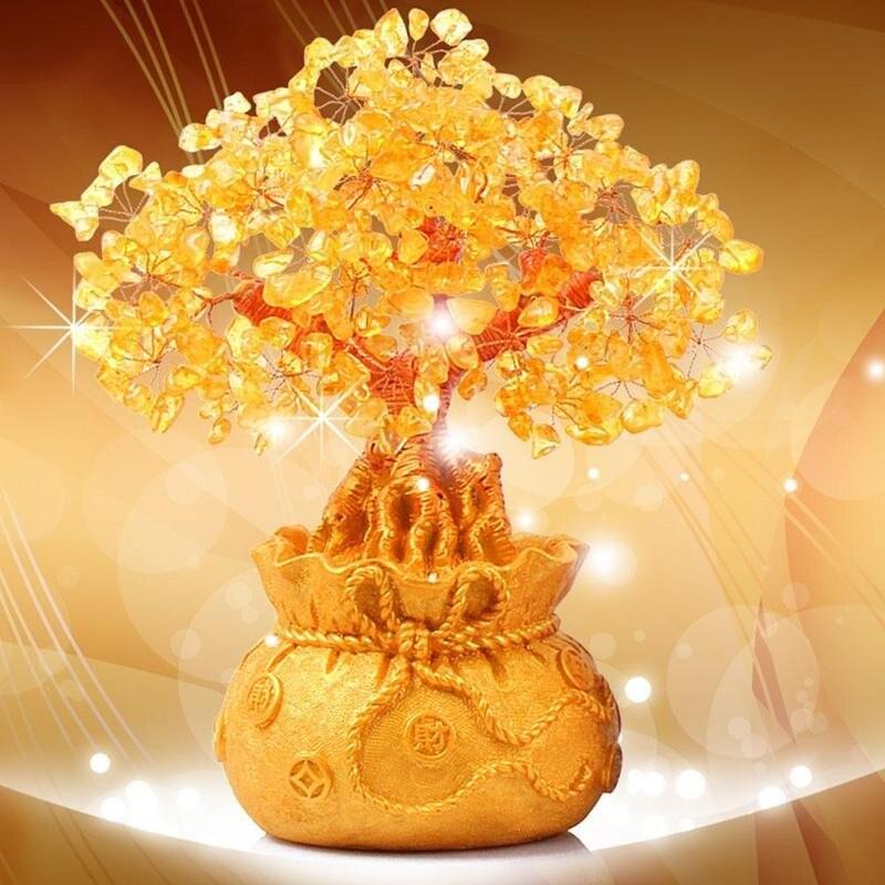 Натуральный кристалл Moneybag, украшения для деревьев, 1 шт., счастливое дерево, украшения для денег, бонсай, украшения для богатства, удачи, дома...