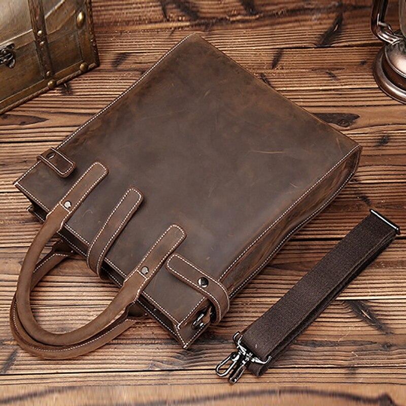 BAOERSEN, мужская сумка через плечо, сумка тоут, Crazy Horse, кожаный деловой портфель, для мужчин, планшет, сумка мессенджер, на плечо, с верхней ручкой, сумки - 6