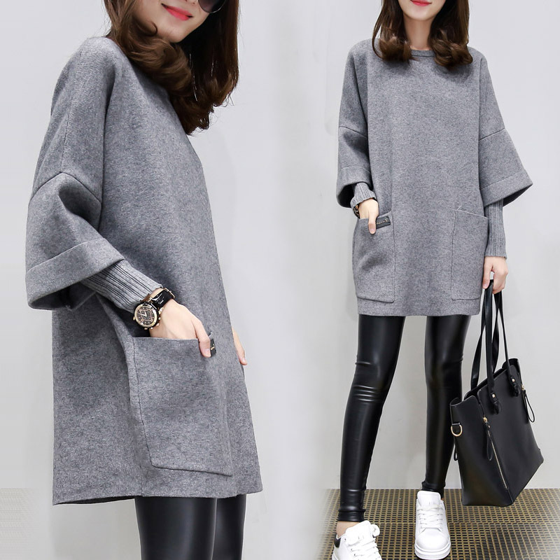 2019 New Style WOMEN'S Dress Autumn Ozhouzhan Loose And Plus-sized Mid-length Long Sleeve Sweater Women's Fake Two-Piece Base Kn