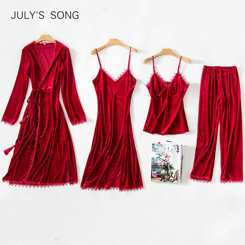 JULY'S SONG New Women Velvet 4 Pieces Pajamas Set Winter Warm Sexy Lace Pajamas Winter Sleepwear Wine Red  Nightdress Homewear