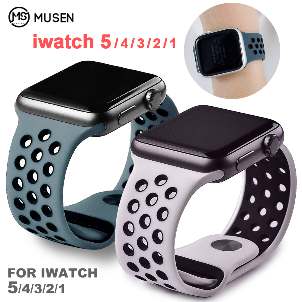 Sports Silicone Watch Strap Compatible For Apple Watch Band 42mm 38mm 40mm 44mm Bracelet Correa Iwatch Series 5 4 3 2 1