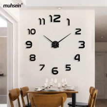 Muhsein Top Selling Modern Wall Clock Big Size 3D Clocks Acrylic Mirror Wall Sticker Clock Home Decorate Living Room&Office
