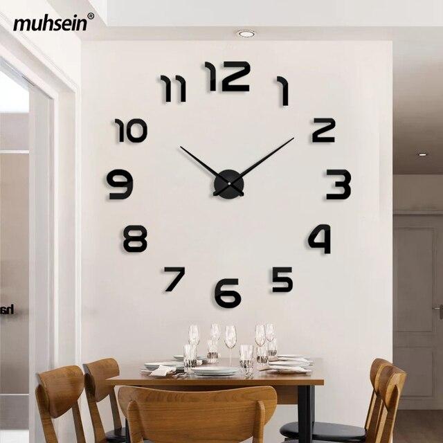 Muhsein Top Selling Modern Wall Clock Big Size 3D Clocks Acrylic Mirror Wall Sticker Clock Home Decorate Living Room&Office