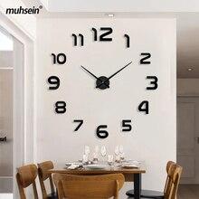 Muhsein meilleure vente moderne horloge murale grande taille 3D horloges acrylique miroir autocollant mural horloge maison décorer salon et bureau