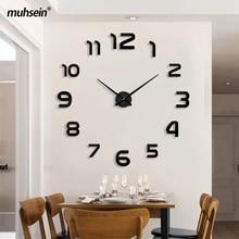 Muhsein venda superior relógio de parede moderno tamanho grande 3d relógios espelho acrílico adesivo de parede relógio casa decorar sala & escritório