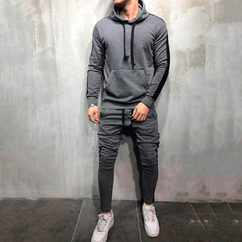 2 Pieces Sets Tracksuit Men Brand Autumn Winter Hooded Sweatshirt +Drawstring Pants Male Stripe Patchwork Hoodies Chandal Hombre
