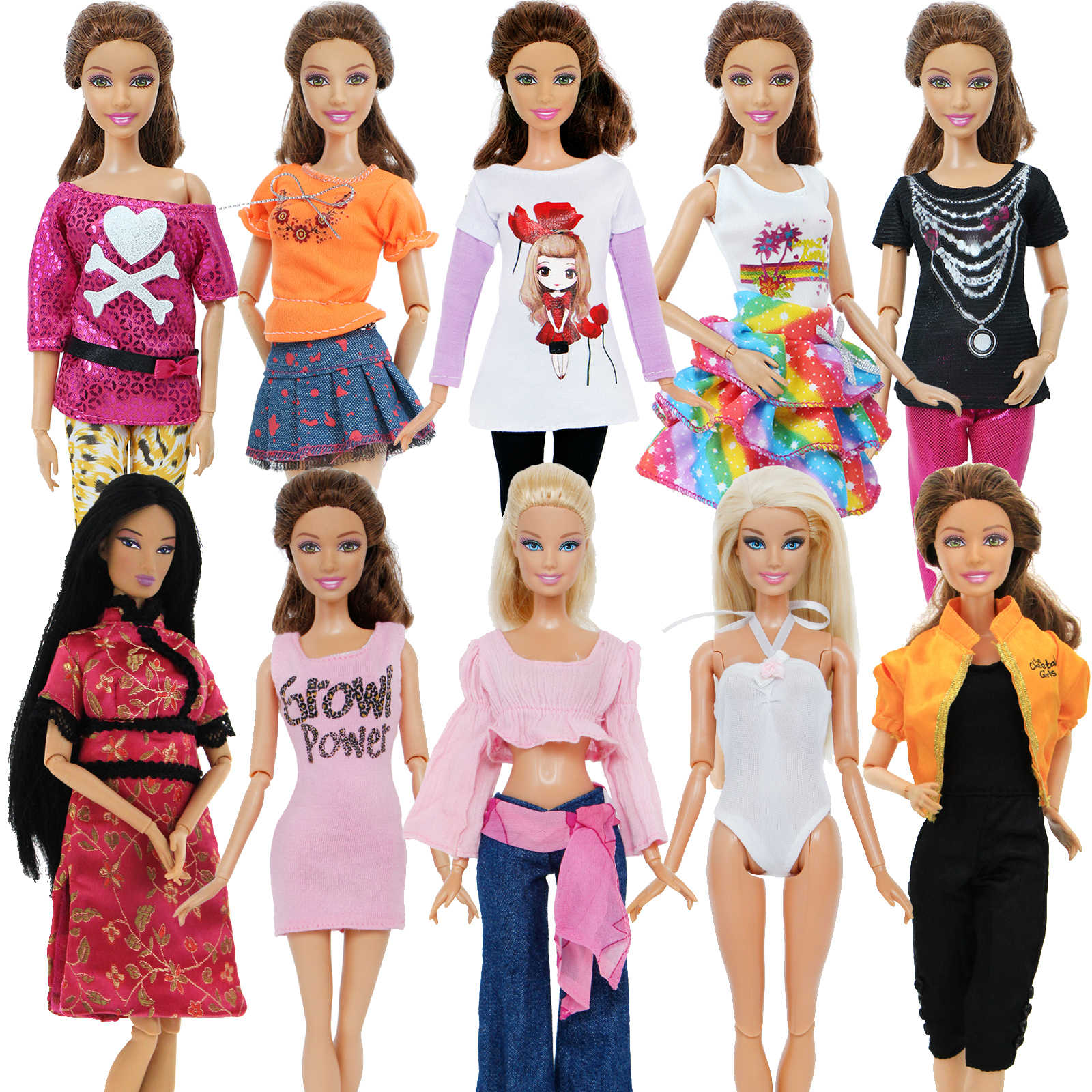 5 set Handmade Fashion Outfit Daily Casual Wear Blouse Shirt Vest Bottom Pants Skirt Clothes For Barbie Doll Accessories