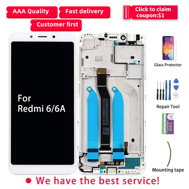 Original LCD For Xiaomi Redmi 6A LCD Display Touch Screen with Frame Digitizer Assembly Repair Parts 6A LCD For Redmi 6 Display