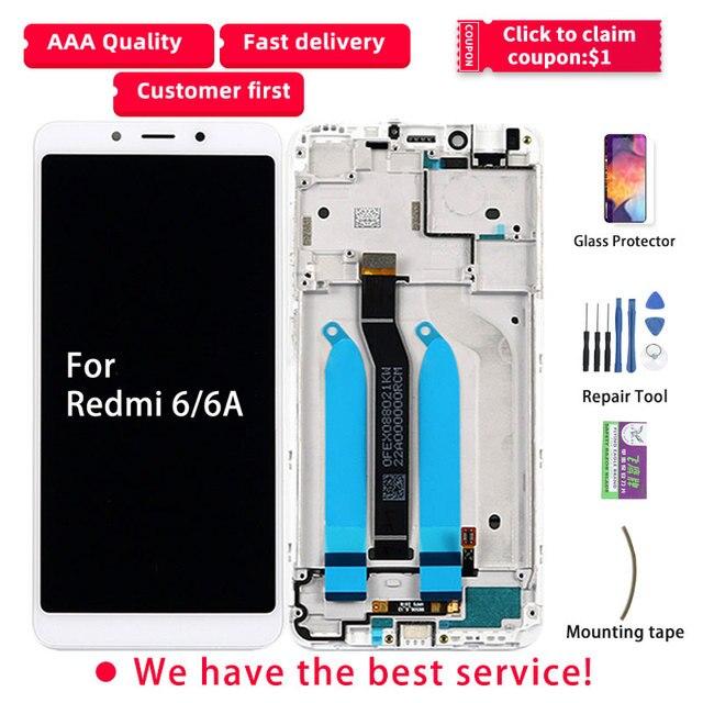 オリジナル xiaomi redmi 6A 液晶ディスプレイのタッチスクリーンフレームデジタイザアセンブリ修理部品 6A 液晶 redmi 6 ディスプレイ