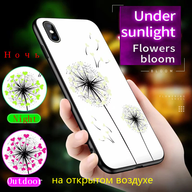 H81019c7524e14cc7a545f9aa71fdc2ec2 Luminous Tempered Glass Case For iPhone 5 5S SE 6 6S 7 8 Plus Case Back Cover For iPhone X XR XS 11 Pro Max Case Cover Cell Bag