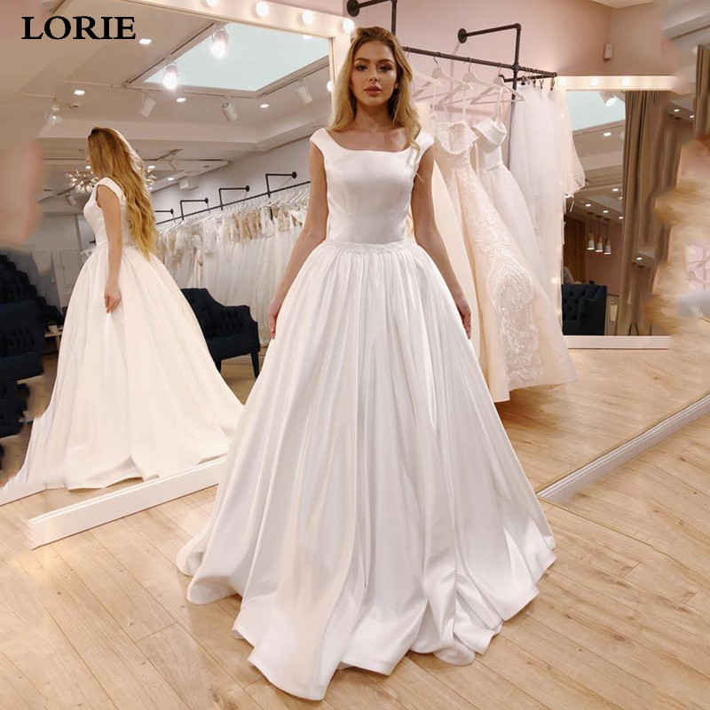 LORIE A Line Wedding Dress Satin Sleeveless Cheap Price Bride Dress Sexy Open Back Vestido De Novia Wedding Gowns