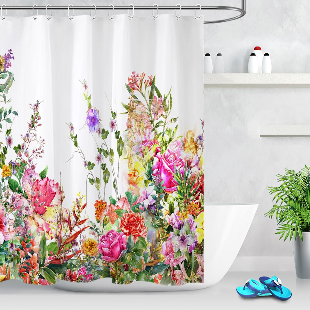 Herbs and Wild Flowers Botanical Floral Fabric Shower Curtain Set Bathroom Decor