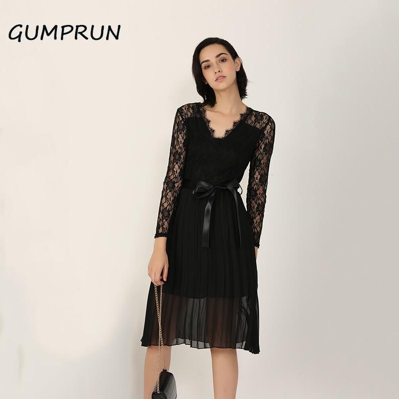GUMPRUN летнее Повседневное платье 2020, женское кружевное плиссированное платье с длинным рукавом, элегантное Новое шифоновое платье миди с черной лентой|Платья|   | АлиЭкспресс
