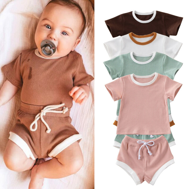 2020 Baby Summer Clothing Infant Baby Girl Boy Clothes Short Sleeve Tops T shirt+Shorts Pants Ribbed Solid Outfits 0 3T