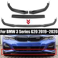 3pcs/set Gloss Black Car Front Bumper Lip Spoiler Front Bumper Kit for BMW 3 Series G20 2019 2020 Car Styling Accessories