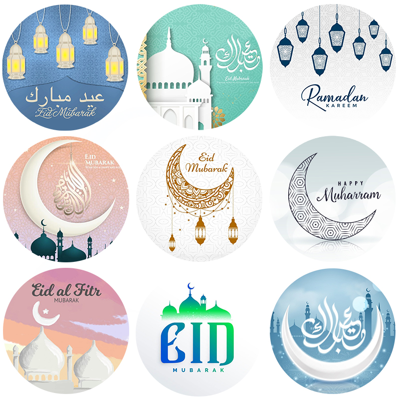 Eid Mubarak Stickers Box Lable Gift Cake Sticker Decoration Ramadan Mubarak Kareem Party Eid Al-fitr Islam Muslim Festival Decor