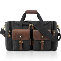 2020 New Arrival Men Vintage Large Capacity Canvas Weekend Bag Luggage Hand Bag with Cowskin Casual Travel Shoulder Bags