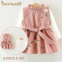 Urso líder do bebê meninas vestido novo vestido de princesa de manga longa crianças roupas vestido + abacaxi mochila para o bebê vestido