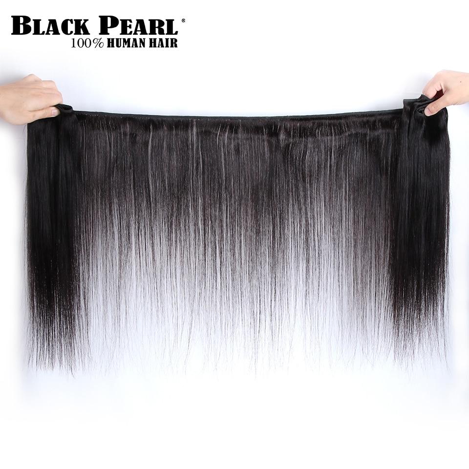 H810227fcef2e49ef99210838ffc290d7W Black Pearl Pre-Colored 3 Bundles with Closure Straight Human Hair Bundles with Closure Brazilian Hair Weave Bundles