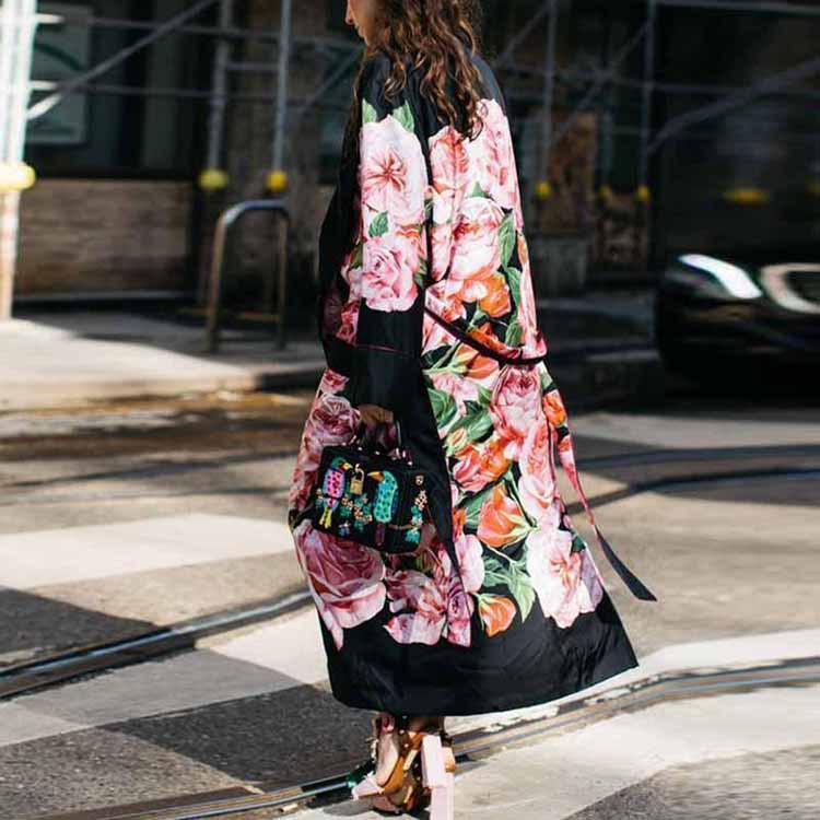 Fashion Print  Long Wool & Blends Ladies Coat  Black Women's Jacket Loose Winter  Korean Womens Polyester Coat Plus Size