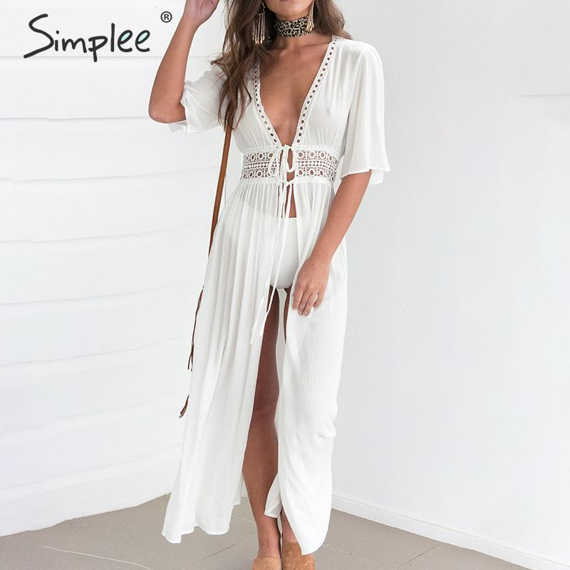 Simplee Sexy Deep V-neck Summer Cardigan Coat Hollow Out Lace Up Transparent Female Bikini Cover Up Bathing Suit Beach Coat