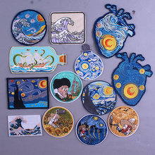 New Van Gogh Embroidered Patches For Clothing Art Patches On Clothes Kanagawa Waves Pacth Iron On Appliques DIY Embroidery Patch