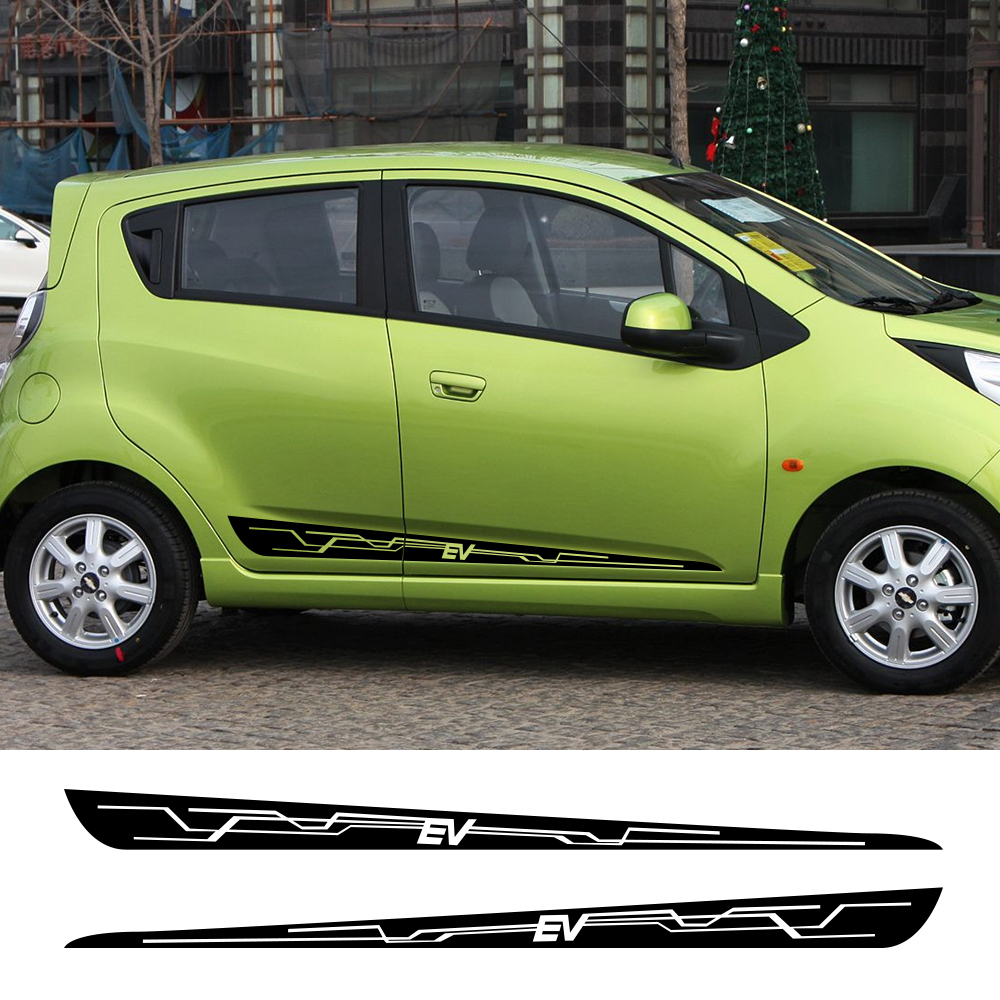 2Pcs For Chevrolet Spark Car Door Side Stickers Auto Sports Graphics Vinyl Film Decals Automobile Styling Car Tuning Accessories