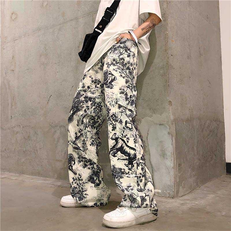 NiceMix 2020 Women Pants Loose Sports  Casual Beam Foot Harem Pants Comics Printed Joggers Pants Mens Hip Hop Casual Trousers