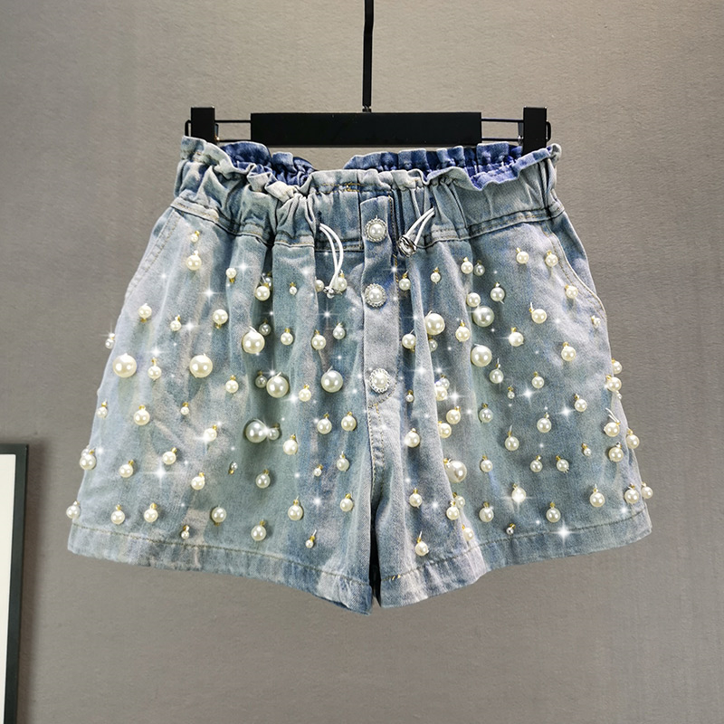 Jeans Shorts Women Denim Shorts 2020 Summer New Loose Crystal Beaded Wide Leg Hot Pants Girls Ladies Shorts Short Femme