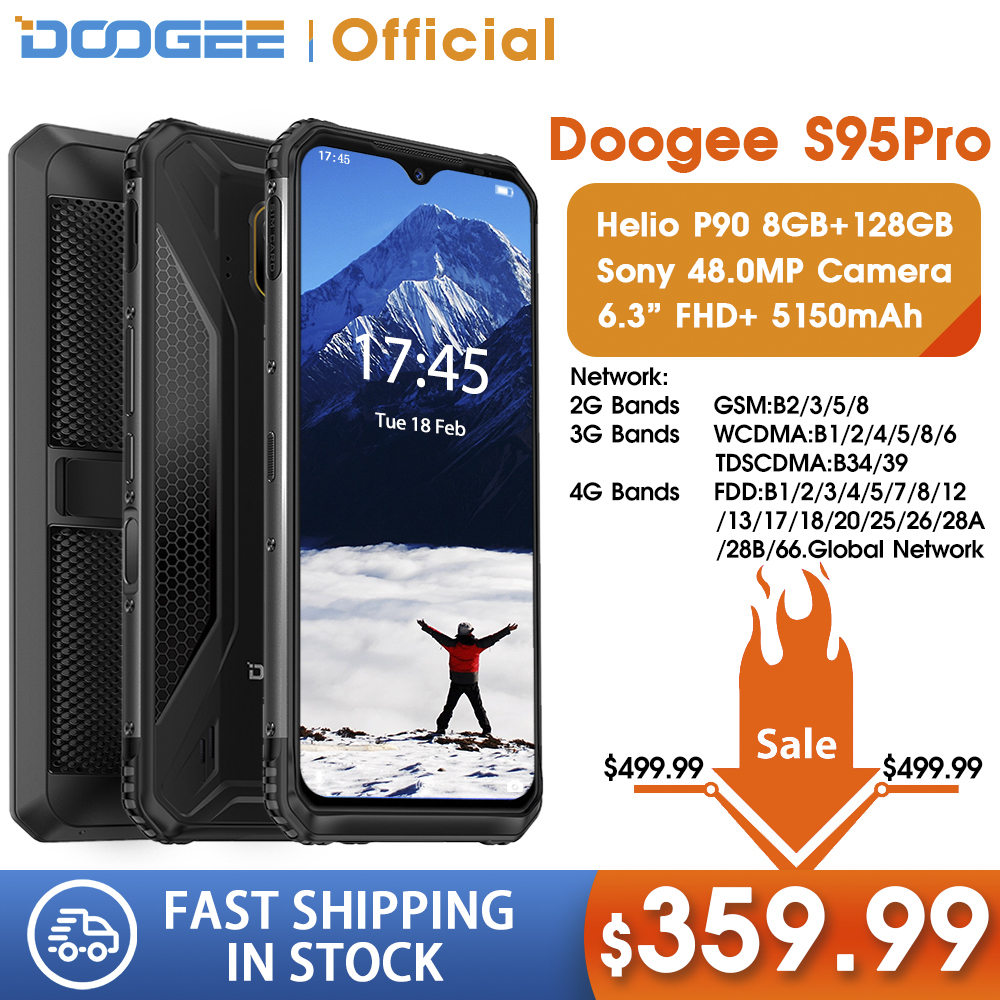 IP68/IP69K DOOGEE S95 Pro Modular Rugged Mobile Phone 6.3inch Display 5150mAh Helio P90 Octa Core 8GB 128GB 48MP Cam Android 9 image