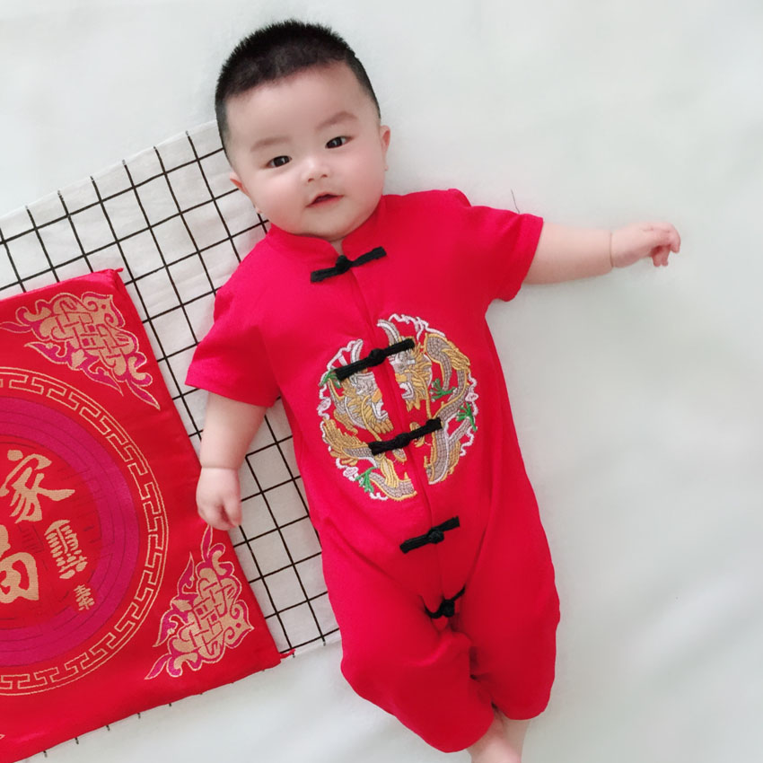 Chinese Traditional Costumes Newborn Baby Rompers Short&full Sleeve Spring Festival Chinese New Year Wear Girls Rompers