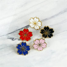 Japanese Style Cherry Blossoms Flower Gold Silver Brooch Pin Button Pin Denim Jacket Pin Badge For Bag Jewelry Gift For Girl(China)