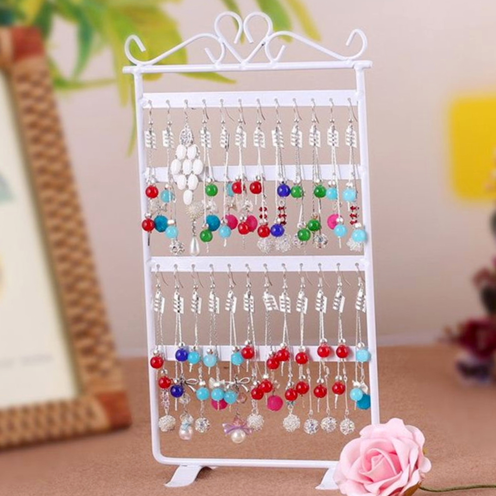 48 Hole Earrings Ear Studs Display Rack Metal Jewelry Holder Stand Organizer Showcase Pink For Retail Environment
