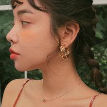 Большие золотые серьги кольца fnio корейские Металлические с