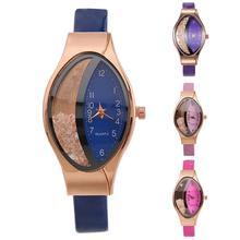 купить Lady Quartz  Watches Quicksand Rhinestone Oval Dial Faux Leather Strap Analog Fashion Wrist Watch Quartz Wristwatches Xmas Gift онлайн