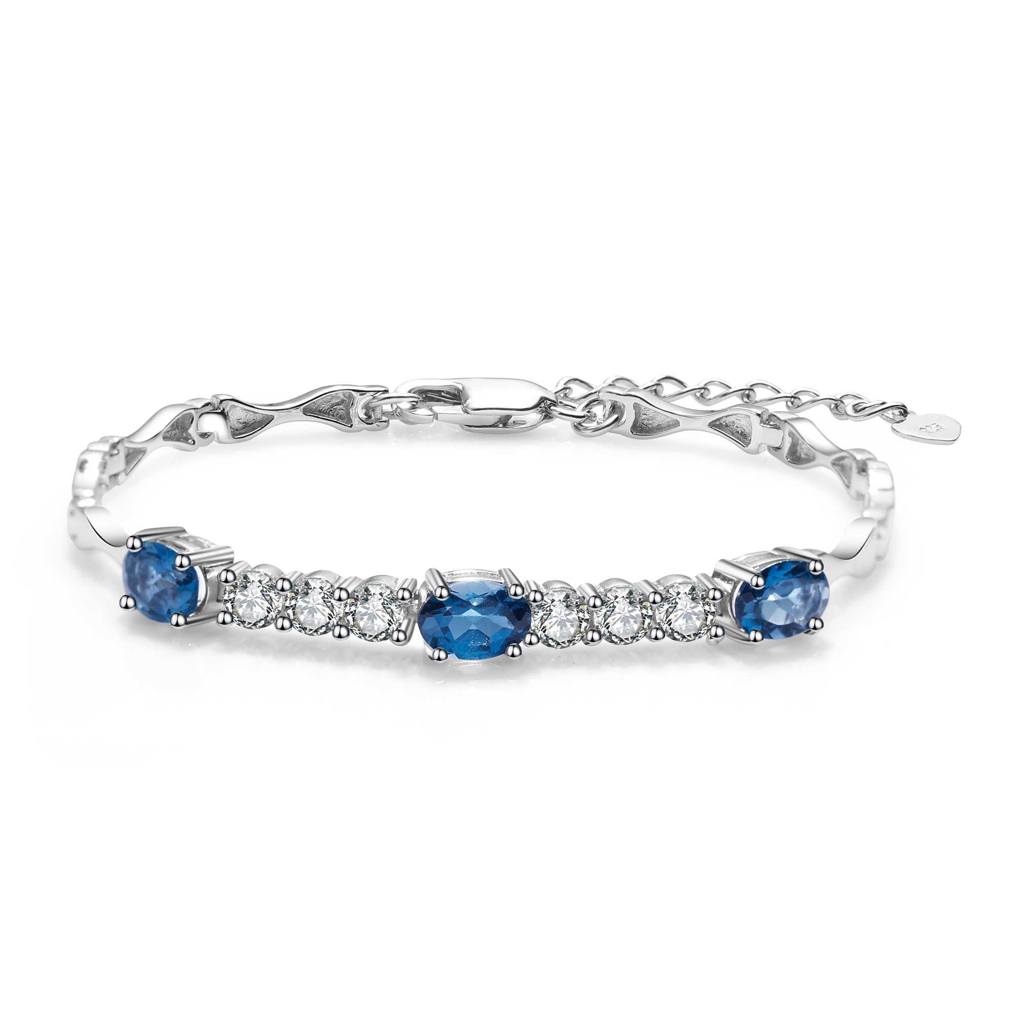 פנינה של בלט 925 סטרלינג כסף 3.00Ct טבעי לונדון טופז הכחולה חן צמידים וצמידים לנשים תכשיטי חתונה