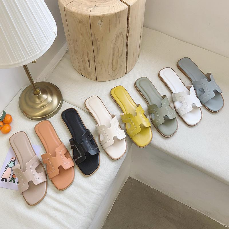 CINESSD PU Beach Slippers Women's Shoes Soft Casual Shoes Women Slippers Summer 2020 New Solid Color Flat Outside Ladies Shoe 40
