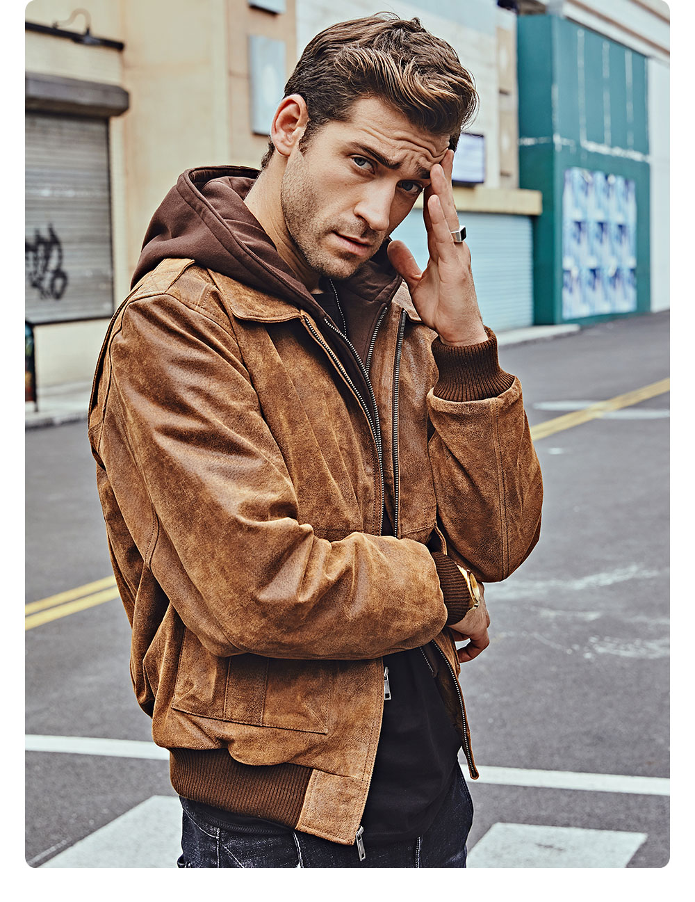 H81031aa7668d4a97b25c7e43b288a682Q FLAVOR New Men's Genuine Leather Bomber Jackets Removable Hood Men Air Forca Aviator winter coat Men Warm Real Leather Jacket