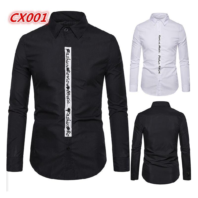 Men Shirt Brand 2019 Male High Quality Long Sleeve Shirts Casual Hit Color Slim Fit Black Man Dress Shirts