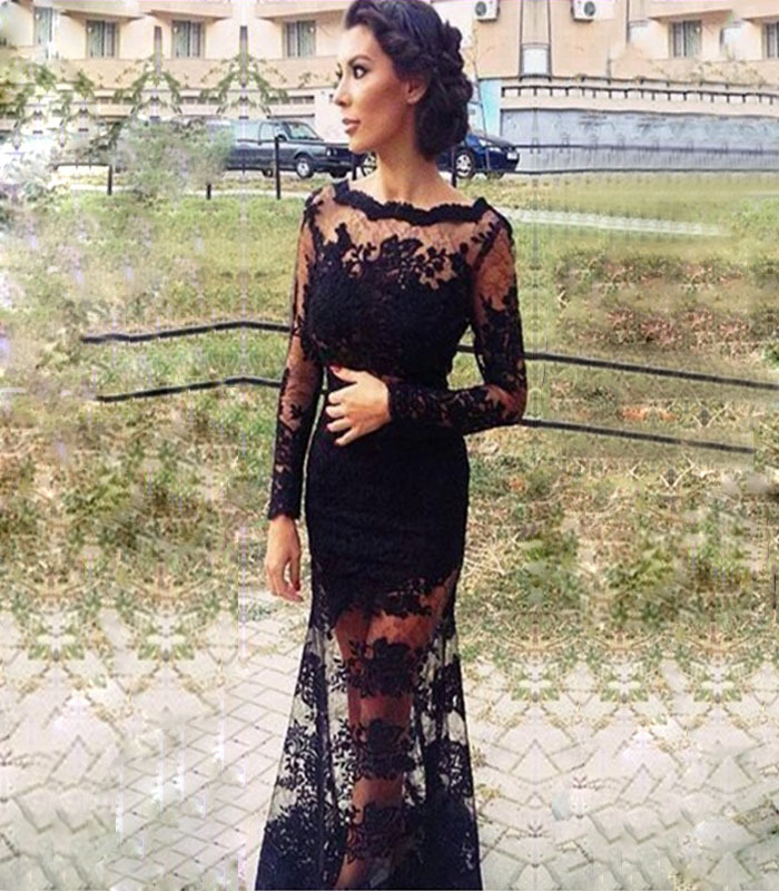 Seductive Scoop Sleeveless Backless Lace Appliques Floor-Length Trumpet/Mermaid Prom Gown Vestido Mother Of The Bride Dresses