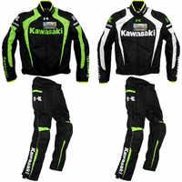 Mens Team Motorcycle jacket for Kawasaki Racing riding pants Moto Motocross Windproof warm Off-Road rotective pants suit