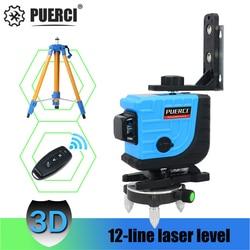 PUERCI P3CG Groene Laser Niveau 12 Lijnen 3D Niveau Zelfnivellerende 360 Horizontale En Verticale Cross Super Krachtige Groene laser Niveau