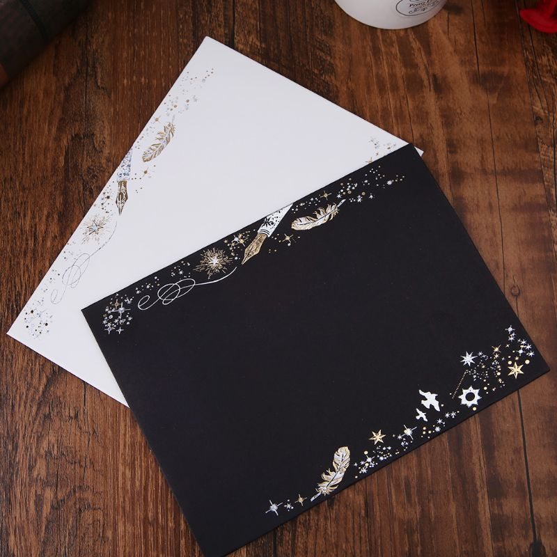 10pcs Creative Bronzing Feather Envelope For Wedding Invitation Cards Gifts Stationery Letter LX9A