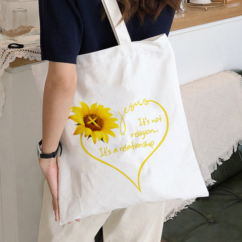 Aesthetic Harajuku Fashion Women Canvas Tote Bags Sunflower Printing Eco Bag Cartoon Bolsa De Compras Shopper Shoulder Bags