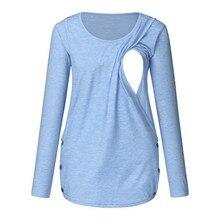 Одежда для беременных Грудное вскармливание Повседневная однотонная Пижама для беременных Топ одежда Беременность и кормление футболка одежда для беременных Топ