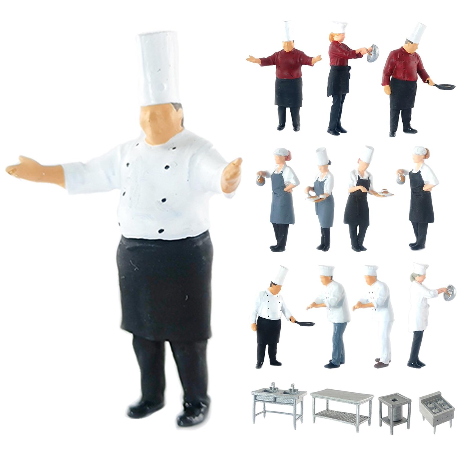 Cook Chef Figurines Figures Restaurant Chef Figurines for Miniature Scenes