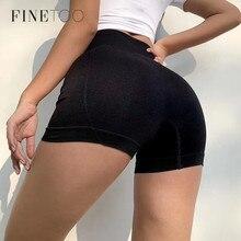 FINETOO Sexy Leggings Women Cotton High Waist Elastic Shorts Comfortable Pure Color Slim Knee-Length Bikeshorts Female