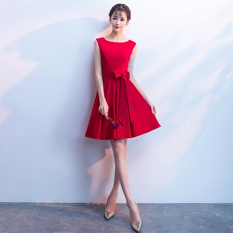 Dress For Toast Bride 2019 New Style Banquet Debutante Short-height Slimming Red Marriage Elegant Short Evening Gown Women's