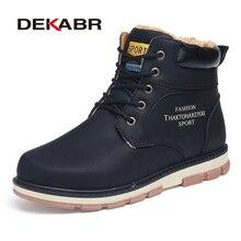 DEKABR marka gorąca sprzedaż zimowe buty śniegowe wysokiej jakości Pu skórzane buty ocieplane wodoodporne buty robocze moda męska buty